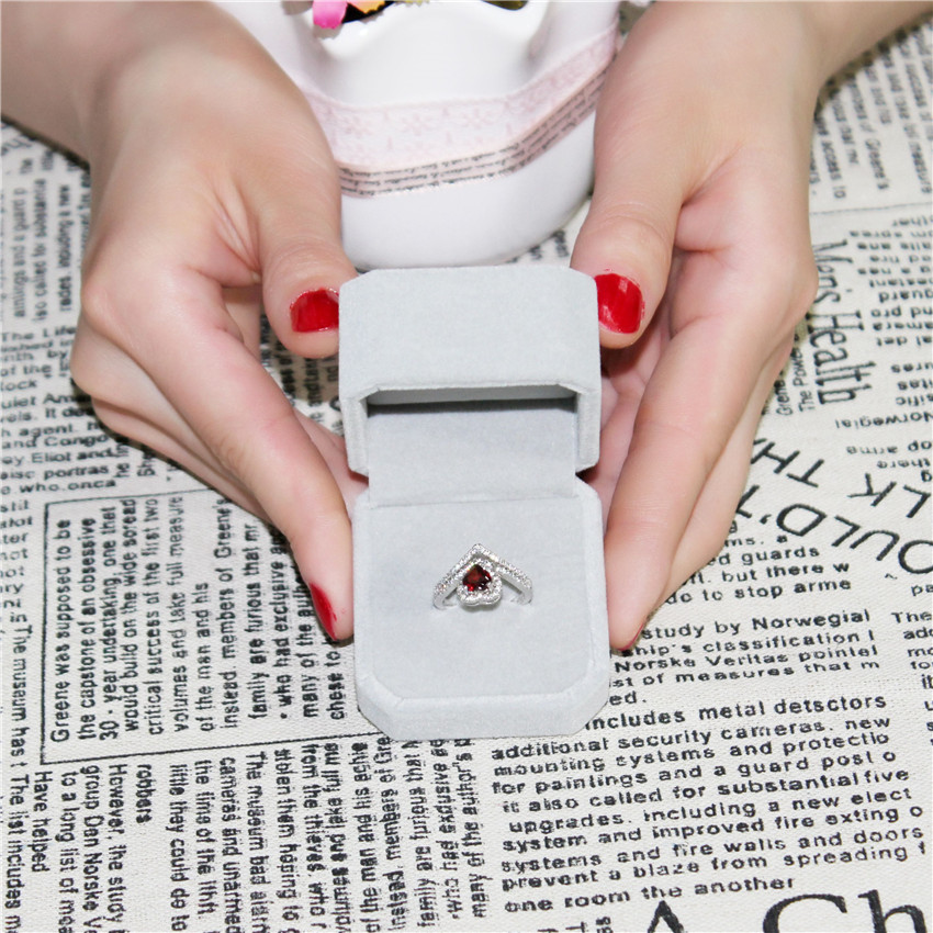 Almei 925 Sterling Silver Sparkling Love Garnet Heart Ring Women Full Crystal Jewelry Saint Valentine's Day Gift With Box CJ016