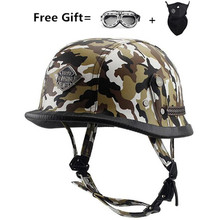 German Leather Helmet Harley WWII Style BLACK Motorcycle Open Face Half Chopper Biker Pilot Vespa camouflage
