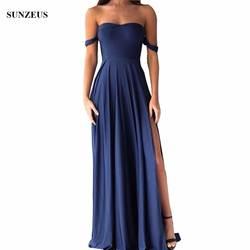 Длинные вечерние платья Милая с открытыми плечами Темно-синие Свадебная вечеринка платье спандекс Джерси для выпускного бала с боковыми