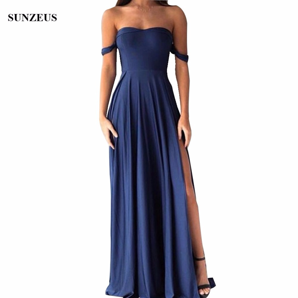 Long   Bridesmaids     Dresses   Sweetheart Off Shoulder Navy Blue Wedding Party   Dress   Spandex Jersey Prom Gowns Side Slit BDS046
