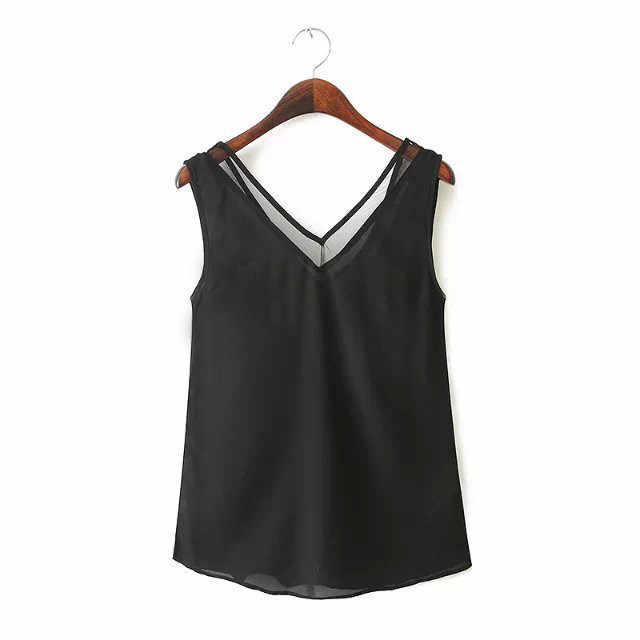 Women Chiffon Shirt  Summer Sexy V Neck Top Girl Casual Black White Mesh Patchwork Blouse Harajuku