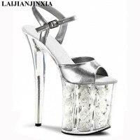 LAIJIANJINXIA platform Crystal sandals white flowers for wedding shoes 20cm pole dancing high heels star Dance Shoes
