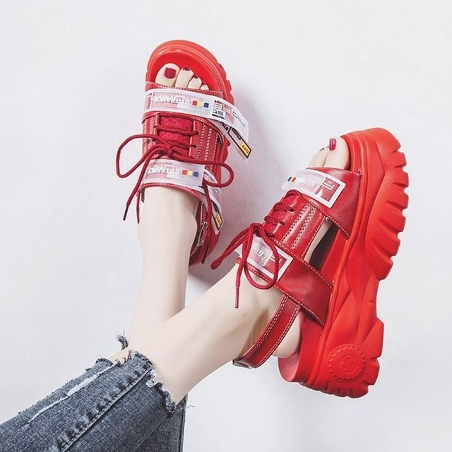 2019 Summer Chunky Sandals Women 8cm Wedge High Heels Shoes Female Buckle Platform Leather Casual Summer Slippers Woman Sandal 4