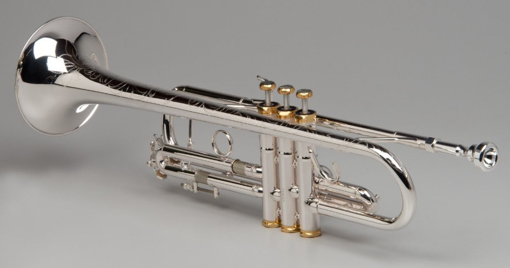 TEMPEST Bb TRUMPET HANDMADE SILVER PLATED NICKEL PLATED VALVES ENGRAVED BODY