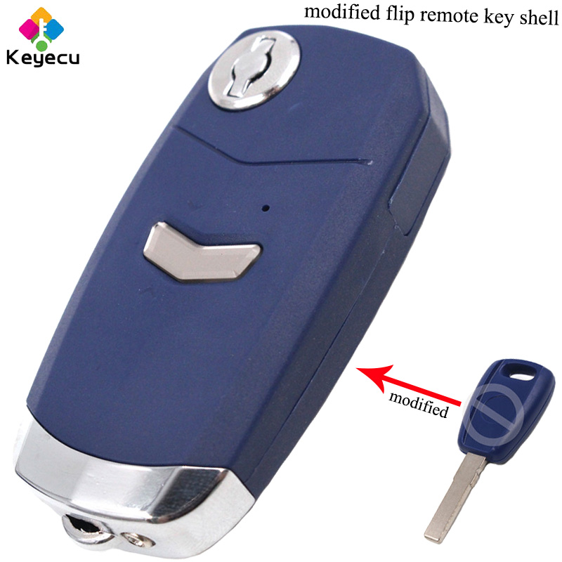 KEYECU <font><b>Replacement</b></font> Modified Flip/ Folding Remote Control Car <font><b>Key</b></font> Shell Case With 1 Button & Uncut SIP22 Blade - <font><b>FOB</b></font> for <font><b>Fiat</b></font> image