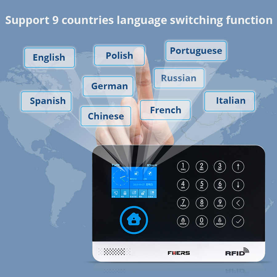 FUERS Wireless Home Security GSM WIFI SIM Alarm System IOS Android APP  Remote Control RFID Card PIR Door Sensor Siren kit