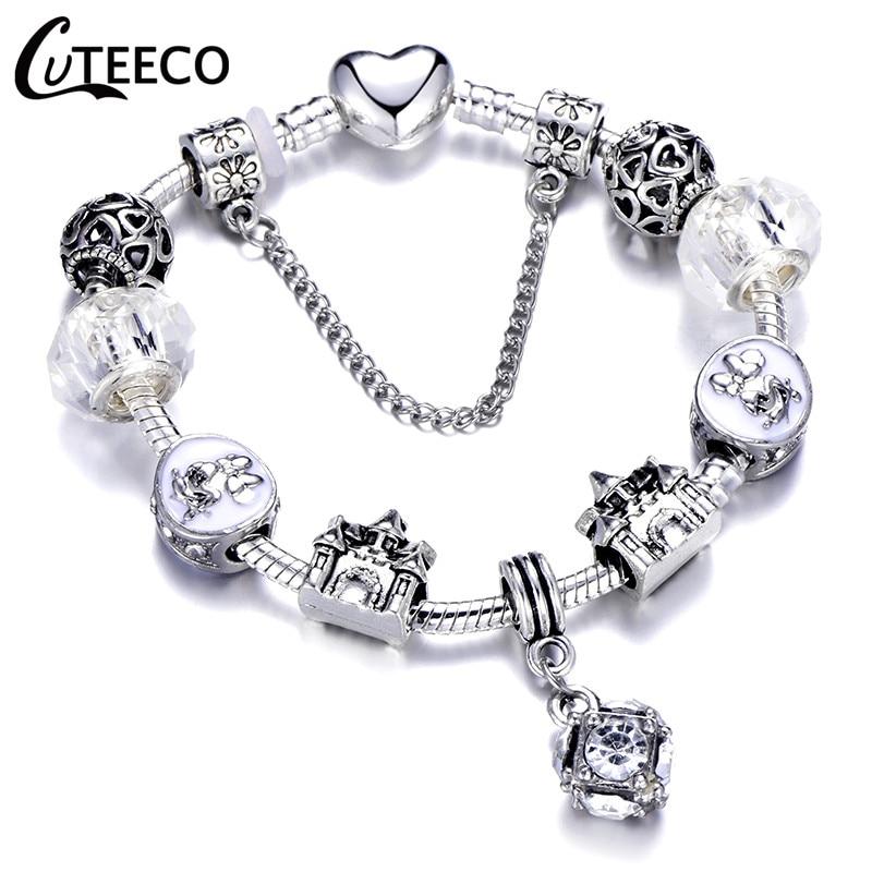CUTEECO 925, модный серебряный браслет с шармами, браслет для женщин, Хрустальный цветок, сказочный шарик, подходит для брендовых браслетов, ювелирные изделия, браслеты - Окраска металла: AE0275