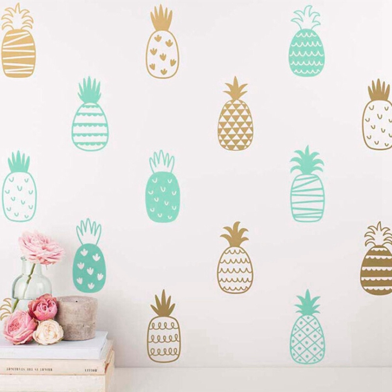 Nordic Style Cute Pineapple Diy Wall Stickers Kids Room Kindergarten Diy Wall Stickers Pineapple Art Decor Cute Wall Decals