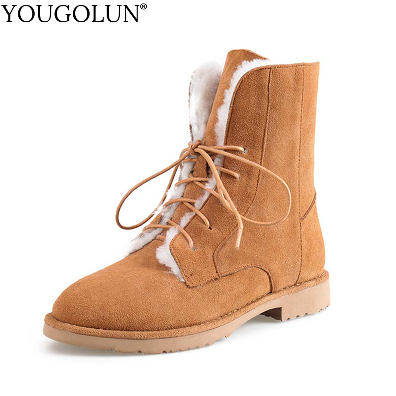 YOUGOLUN Women Ankle Boots Snow 2017 New Winter Fur Wool Genuine Cow Suede Low Heels Black Brown Lace-Up Shoes #Y-191 fun ville new fashion woman snow boots black gray brown real fur wool ankle boots warm winter shoes for women size 34 42