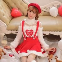 Prenses tatlı lolita kazak Şeker yağmur kırmızı aşk kalp hollow out dantel kürk yüksek yaka örgü tiftik kazak C16CD5906 seviyorum