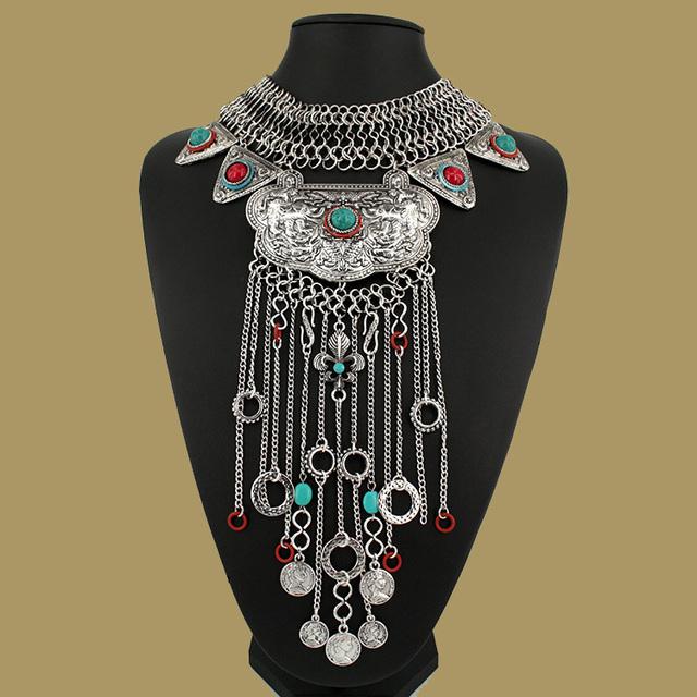 Moda Jóias Colar de mulheres Ciganas Boêmio Antigo Colar De Prata de borla Vintage Da Moda Turca Étnica Indiana Colar 2015