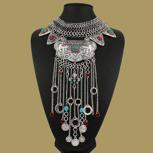 Women Gypsy Necklace Fashion Jewelry Bohemian Antique Silver tassel Necklace Vintage Trendy Turkish Indian Ethnic Necklace 2015