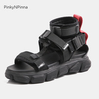 Trending young women sneakers sandals flat platform gladiators ankle strap genuine leather insole black goth emo style shoes