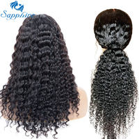 Sapphire Brazilian Deep Wave Curly Lace Closure Wigs Pre Plucked With Baby Hair Remy Brazilian Human Hair Wigs For Black Women