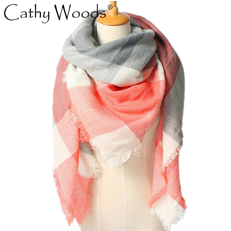 CW imitation cashmere lattice stitching cotton scarf square shawl collar for women winte ...