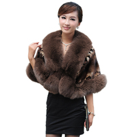 Women's Genuine Natural Whole hide Mink Fur Shawls Fox Fur Trimming Bride Cape Lady Pashmina TFM 218
