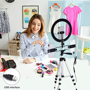 Image 3 - Selfie Video LED Ring Light Portable Photography Dimmable Lamp with Tripod Phone Holder for iPhone 11 12 Pro Max XS Galaxy Plus
