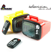 Original Homade Remote Control Mood Light TV Alarm Clock,Retro Television Digital Alarm Clock with Remoted TV Display Backlights