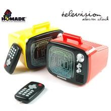 Original Homade Remote Control Mood Light TV Alarm Clock,Retro Television Digital Alarm Clock with Remoted TV Display Backlights