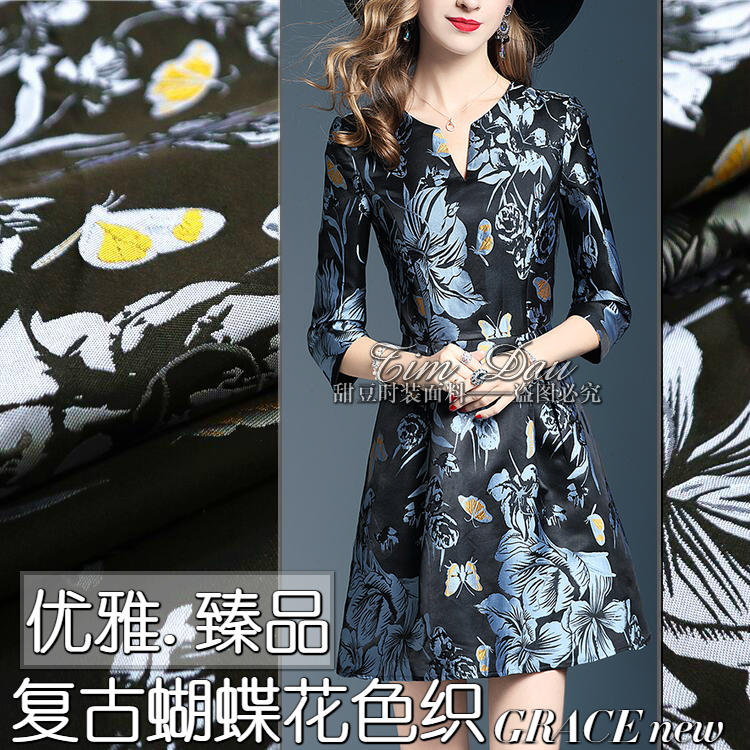Elegant Butterfly Tattoo Jacquard Fabric Fashion Jacquard Brocade Fabric Dresses Tunic Jerseys Fabric wholesale jacquard cloth