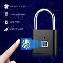 2019 New fingerprint smart padlock USB Rechargeable Keyless Anti-Theft Security Zinc alloy door lock Smart Padlock chip