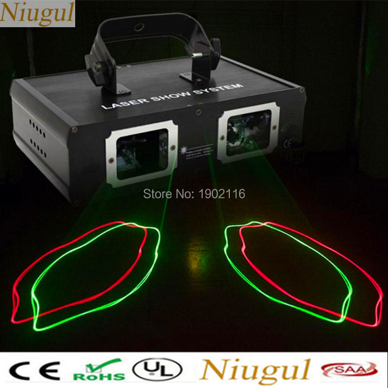 Niugul 2 Lens Red Green RG Beam Laser Light,DMX 512 Professional DJ Party Show Club Holiday Home Bar Stage Lighting ,Beam Effect 3 lens rgb full color scan beam line pattern laser lights dmx sound auto dj party home show bar club stage lighting effect h 3 p