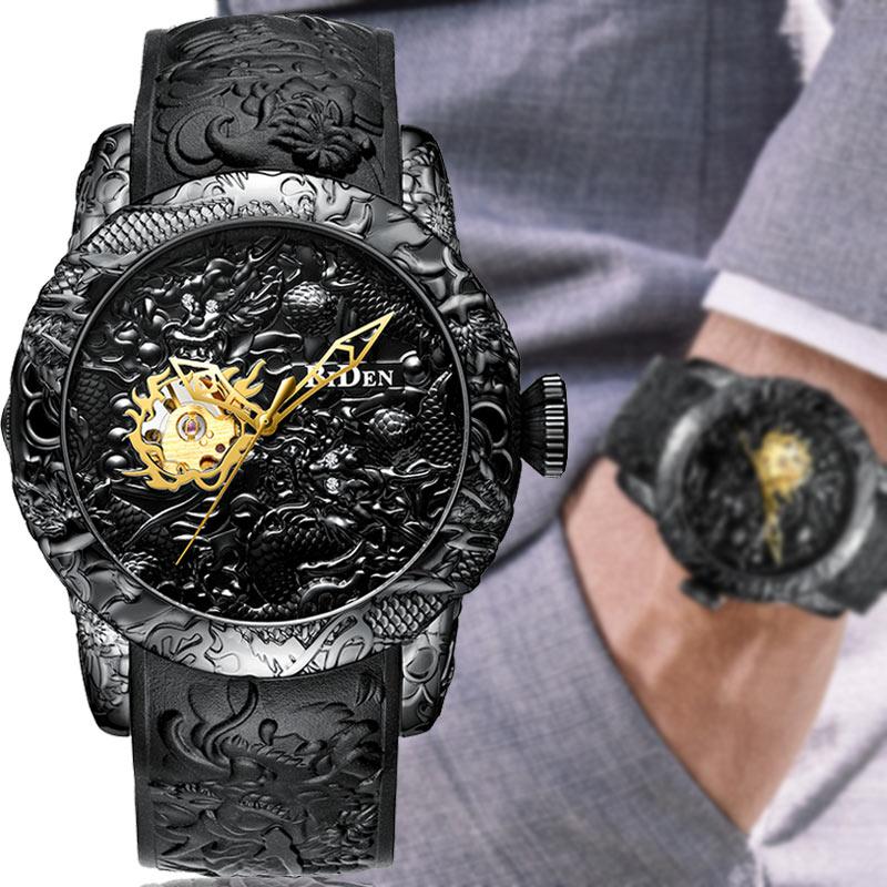 Saatler'ten Mekanik Saatler'de Lüks siyah 3D kazınmış ejderha otomatik mekanik erkek saatler su geçirmez spor erkekler için kendinden sarımlı kol saati erkek saat title=