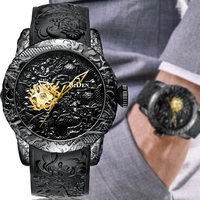 Luxury Black 3D Engraved Dragon Automatic Mechanical Men Watches Waterproof Sports For Men Self winding Wrist Watch Male Clock