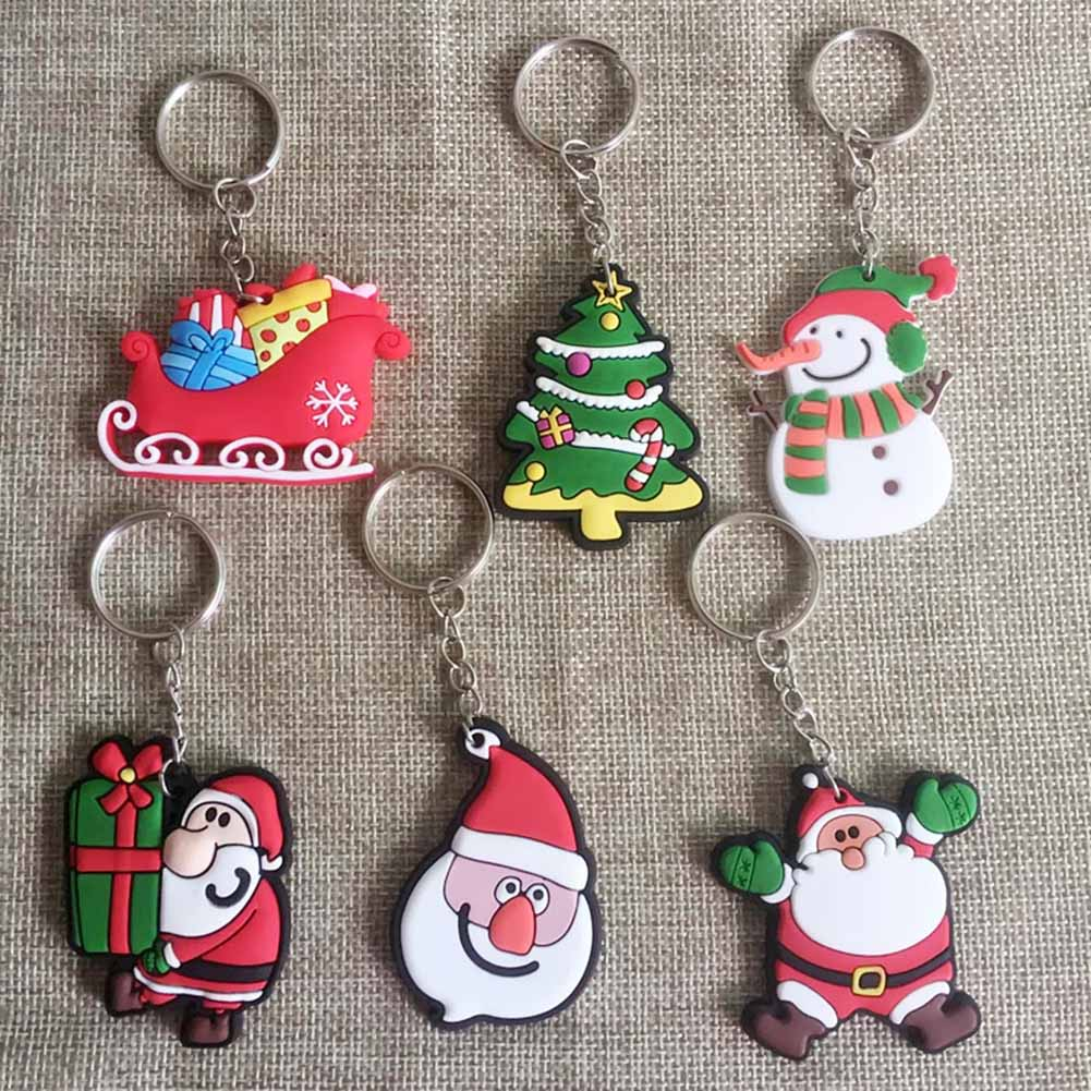 Cute Christmaas Gift Key Chain Jewelry Cartoon Santa Claus Snowman Deer Christmas Tree Charm Keychian Keyring недорго, оригинальная цена