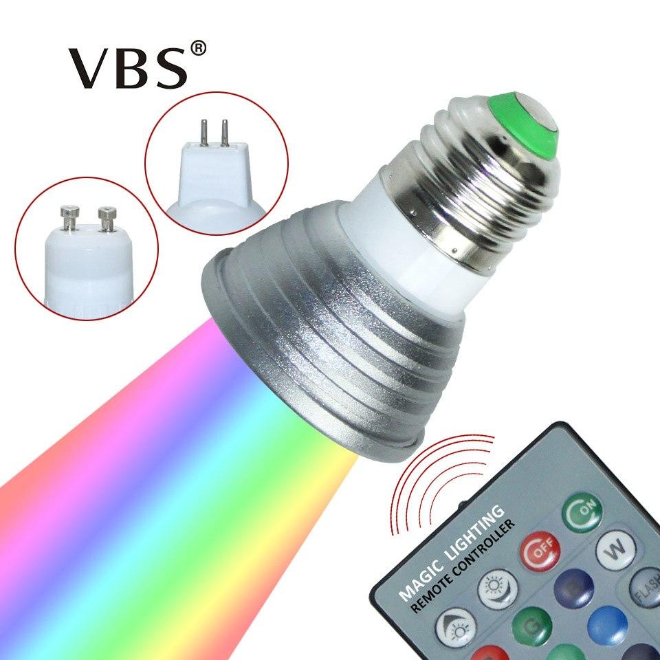 <font><b>LED</b></font> 16 Colour RGB Spotlight <font><b>E27</b></font>/GU10 AC: 86-265V MR16 DC:<font><b>12V</b></font> RGB Colourful Lamp <font><b>LED</b></font> 3W Lighting +24 Key IR Remote Control