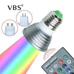 Светодиодный RGB-светильник E27/GU10, 16 цветов, AC: 86-265 в, MR16, DC:12 В