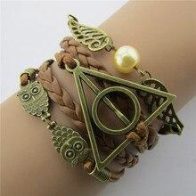 Экшн фигурка из аниме «Гарри смерти» Поттера, кожаный шнур, браслет с золотыми крыльями Снитча, Сова, треугольник, многослойный браслет