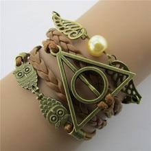 Anime Harri Death Hallows Potter Action Figure Leather Cord Bracelet golden snitch Wings owl Triangle Multilayer Bracelet