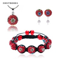Crystal Flower Shamballa Set Bracelet Earring Neckalce Set Disco Ball Crystal Beads Set Shambala Set SHSTB