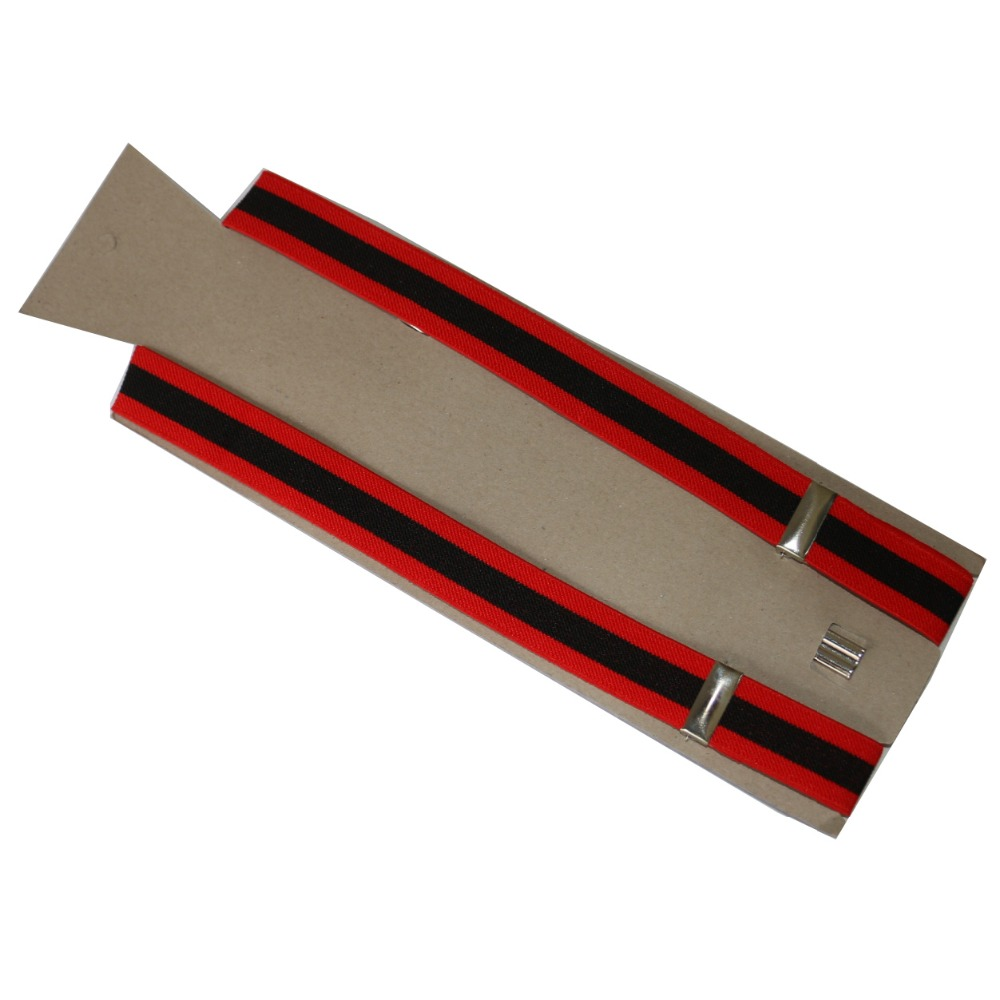 Free Shipping 2017 Women/Mens 2.5cm Wide Clip-on  Red And Black Stripes Braces Elastic Y-back Suspenders