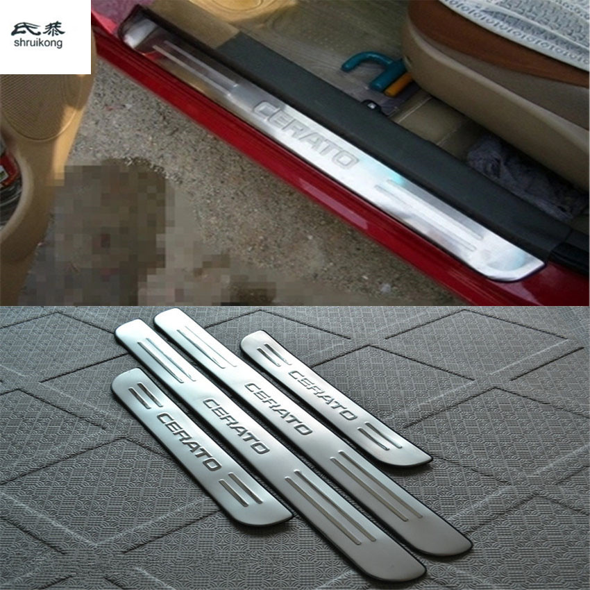Free Shipping 4pcs/lot Car Accessories Stainless Steel Scuff Plate Door Sill For 2005-2009 KIA Cerato Car Styling