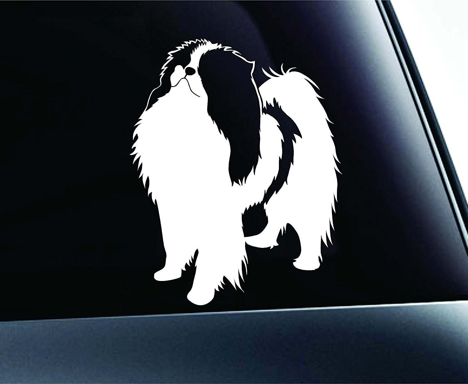 Japanese Chin Dog Symbol Decal Paw Print Dog Puppy Pet Family Breed Love Sticker Window 15cm image