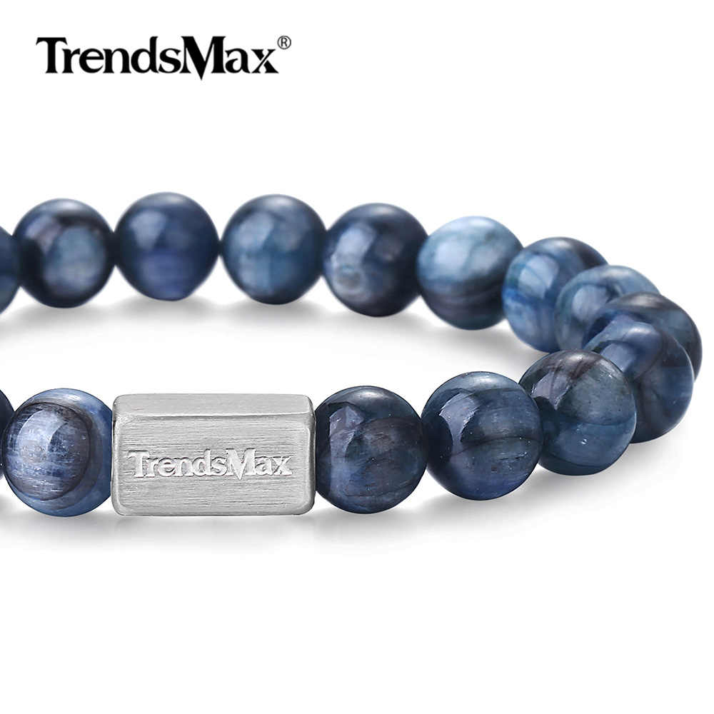 Natural Stone Beaded Bracelet for Mens Womens Stretch Beaded Chain Bracelet Stainless Steel Wristband Blue Kyanite Gem TBB01118