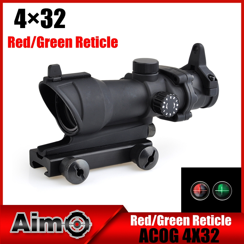 цены Aim-O hunting Reddot ACOG 4x32 Optical Rifle Telescope Red / Green Reticle With Mount 1 set AO5318