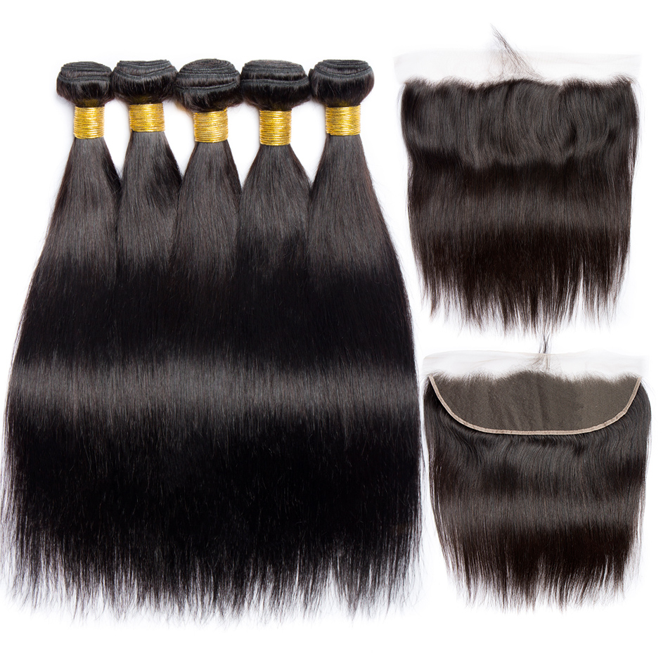 AliBele Straight Hair Bundles With Frontal 3 or 4 Peruvian Hair Bundle With Closure Remy Human