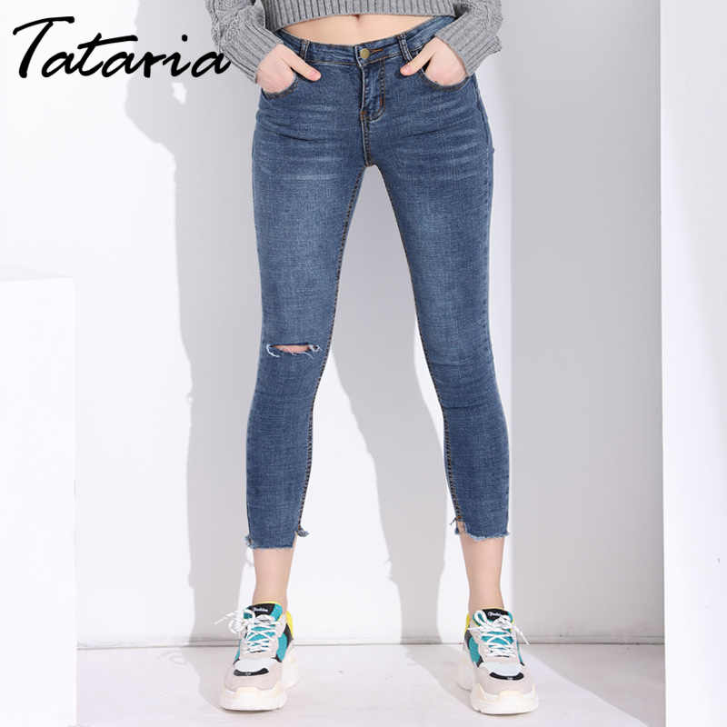 Hole Ripped Skinny Jeans For Woman Slim Ankel Length Stretch
