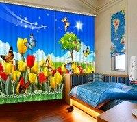 На заказ  современный стиль  тюльпан  Бабочка  голубое небо  белые облака  Затемненные занавески для гостиной  спальни  окна  кухни  3D шторы