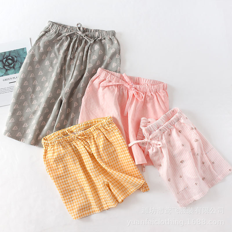 Couples Shorts Thin Pajamas Summer 100% Cotton Double Gauze Printing Leisure Home Sleeping Pants Women And Men Sleep Bottoms