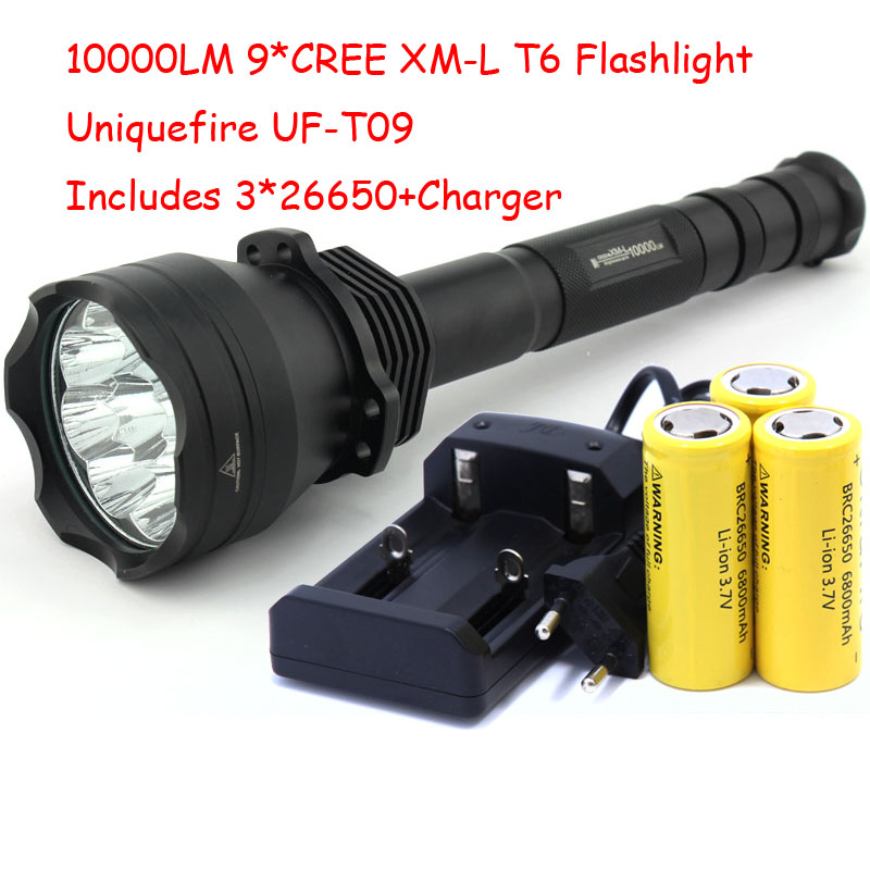 UniqueFire High Power UF-T09 9 x XM-L T6 LED 4-Mode 10000 Lumens Flashlight Torch Light Lamp + Charger + 3*26650 Battery 5 modes tactical flashlight 13800 lumen 12 x xm l t6 led flashlight military torch camping lamp 3 pcs 26650 battery charger