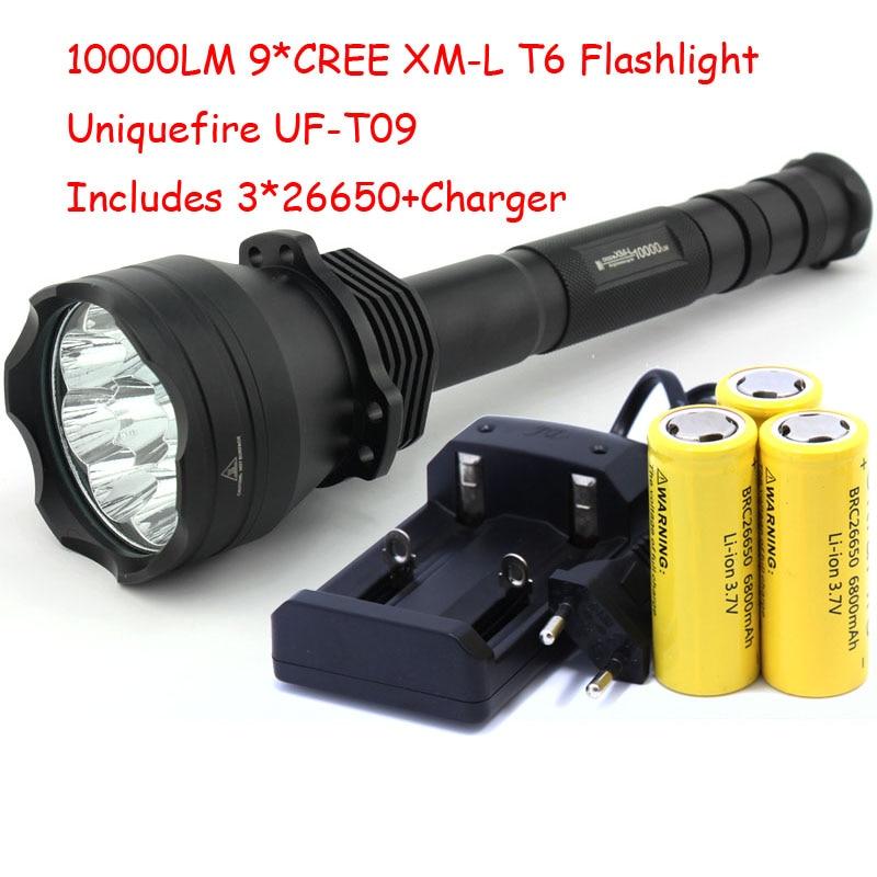 UniqueFire UF-T09 haute puissance 9 x XM-L T6 LED 4 modes 10000 Lumens lampe torche lampe de poche + chargeur + batterie 3*26650