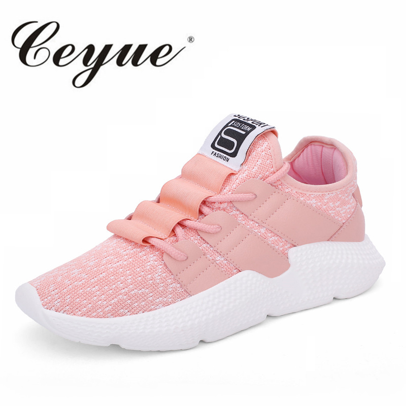 Ceyue Woman Casual Shoes Women Lace Up Waving Fly Breathable Sneakers Europe Normal Size Fashion Loafers Non-Slip Walking Shoes
