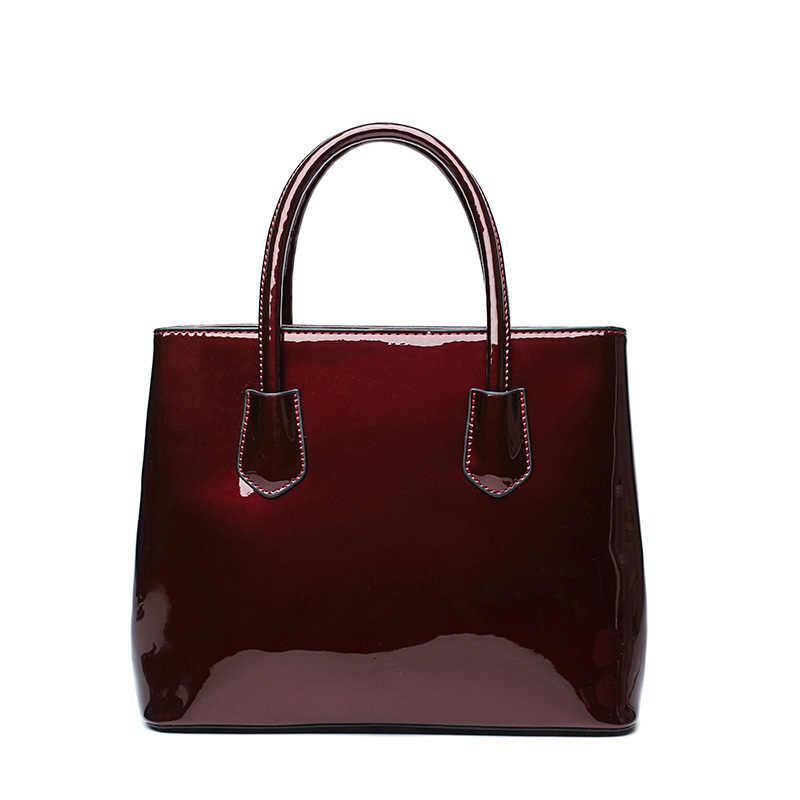 Bolsas de Couro de Patente Mulheres Bolsas de luxo Sacos de Ombro Tote Bag Crossboday Mensageiro Feminino Famoso Conjunto de Marca Femme Sac A Principal