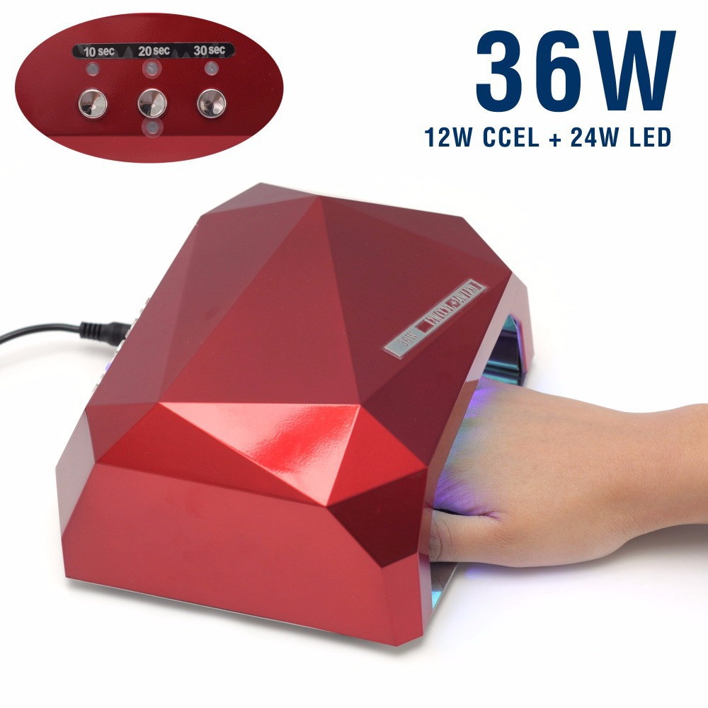 ФОТО UV &LED Lamp Nail Dryer Diamond Shaped 36W LED CCFL Curing for UV Gel Nail Polish Nail Art Dryer