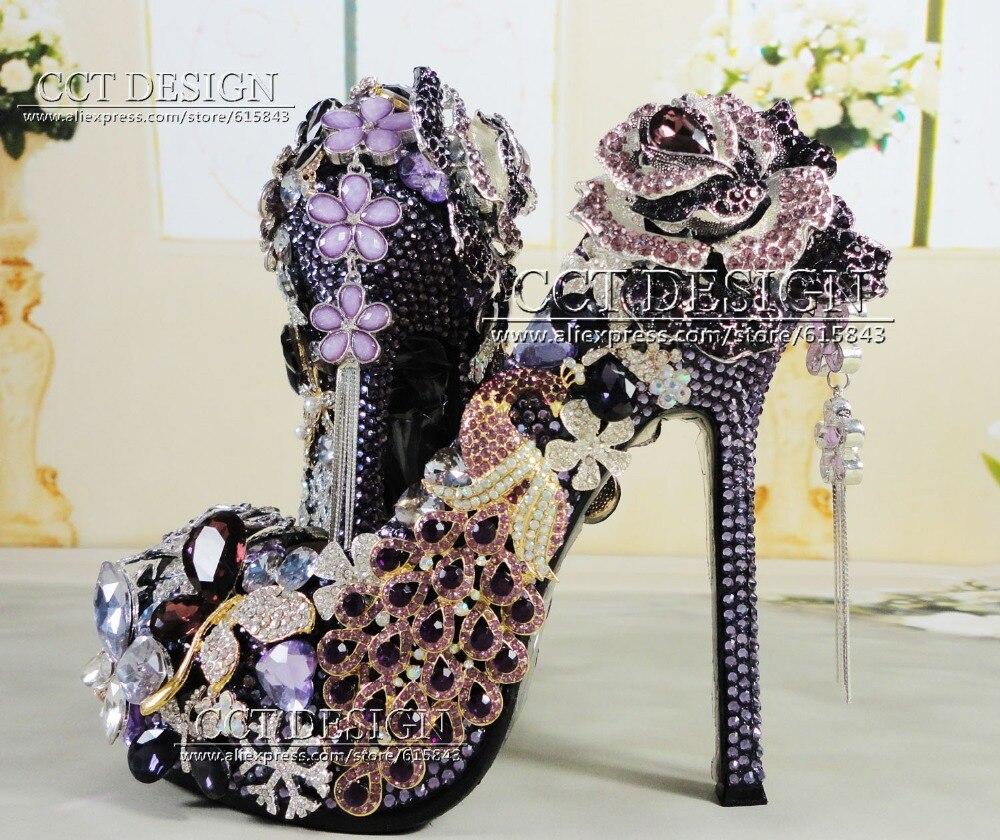 handmade luxury jeweled peacock diamond platforms high heels flowers crystal and rhinestones purple wedding bridal shoes