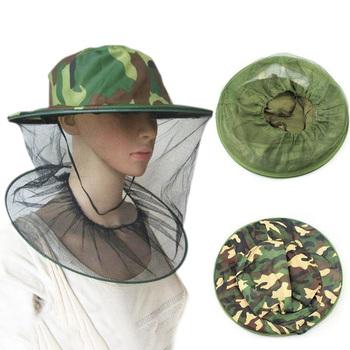 Nowy ogród pszczelarstwo kapelusz kamuflaż siatki na komara kapelusz z siatką spray na komary Cap Bug owad kapelusz wędkarski Mesh ochraniacz na twarz tanie i dobre opinie Pszczelarstwo Kapelusze NYLON Fishing Cap Fishing Hat mosquito net hat CV8572